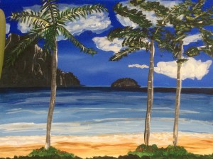 Hawaiian Beach Friday July 10th at 6:30 Paint, Wine & Cheese Party. Life is great!  Art instructor: Jeannie Compter